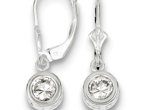 Sterling Silver 6mm Round CZ Leverback