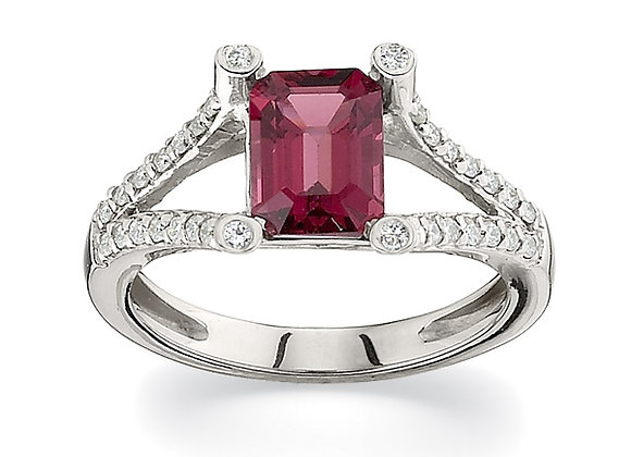 Diamond and Rhodium Garnet Ring