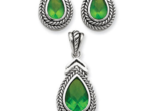 Ster. Silv. Green & Clear CZ Pendant & Earring Set