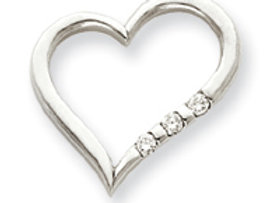 14k White Gold AA Diamond Heart Pendant