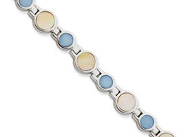 Sterling Silver Yellow & Blue Mother Of Pearl