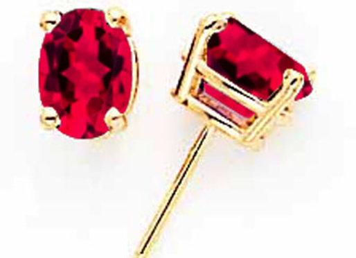 14k Ruby Post Earrings