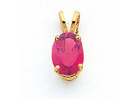 14k 8x6mm Oval Pink Tourmaline Pendant