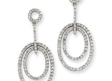 14k White Gold Diamond Ovals Earrings