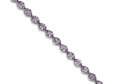 Sterling Silver Pink Amethyst Bracelet