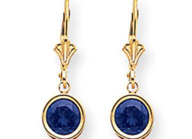 14k 6mm Sapphire Leverback Earrings