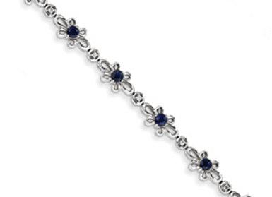 14K White Gold Diamond & Sapphire Flower Bracelet