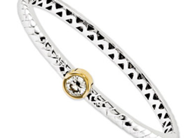14kt Two Toned Moissanite Bangle