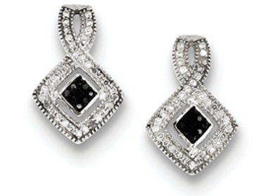 Sterling Silver Black And White Diamond Earrings
