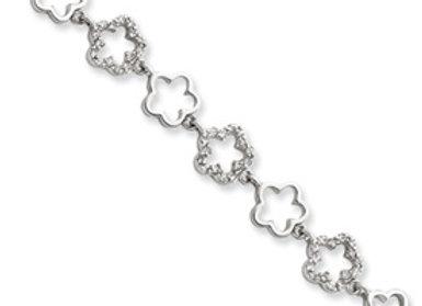 Sterling Silver CZ Floral Bracelet