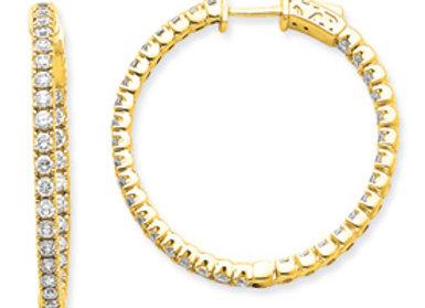 14k Diamond Round Hoop W/Saftey Clasp Earrings