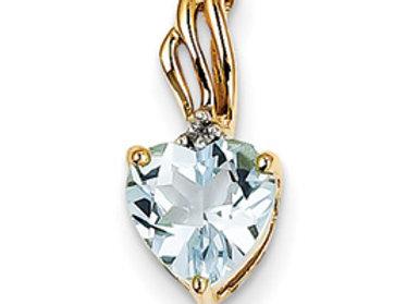 14k Diamond And Blue Topaz Heart Pendant