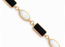 14k 7in Polished Genuine Fancy Onyx & Created Opal