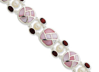 Ster. Silver Pearl & Garnet Color CZ & Pink Mother
