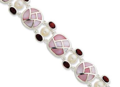 Ster. Silver Pearl & Garnet Color CZ & Pink Mother