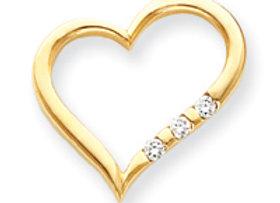 14k AA Diamond Heart Pendant