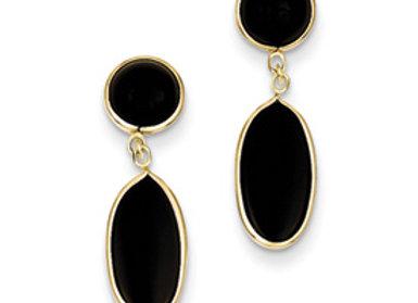 14k Onyx Oval Dangle Post Earrings