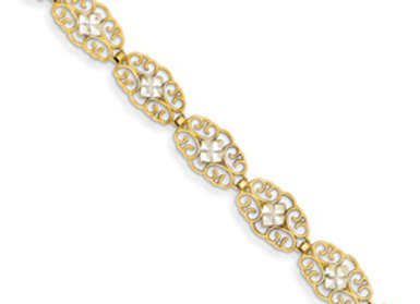 14k & Rhodium Diamond-Cut Marquise Bracelet