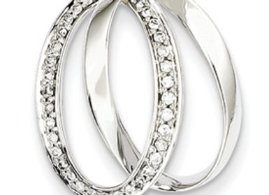 14K White Gold Diamond Double Oval Pendant