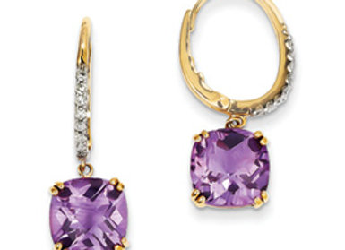 14K Amethyst & Diamond Dangle Earrings