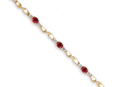 14K Diamond And African Ruby Oval Bracelet