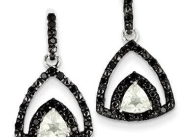 Sterling Silver Green Quartz And Black Diamond