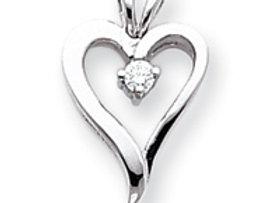 14k White Gold A Diamond Heart Pendant