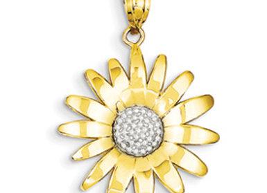14k & Rhodium Sunflower Pendant