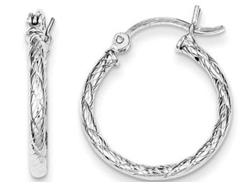 Sterling Silver Patterned Twist 20mm Hoop
