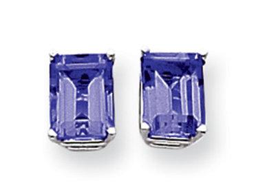 14k White Gold 8x6mm Emerald Cut Sapphire Earrings