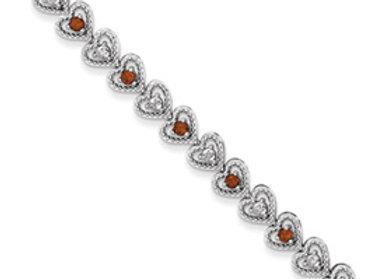 Sterling Silver Garnet Diamond Bracelet