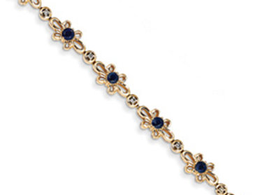 14K Diamond And Sapphire Flower Bracelet