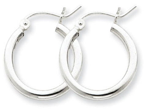 Sterling Silver Rhodium-Plated 2mm Hoop Earrings
