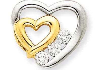 14k Two-Tone AAA Diamond Heart Pendant