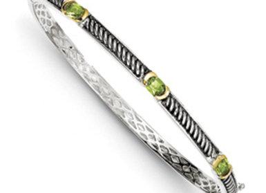 Sterling Silver W/14k Peridot Bangle Bracelet