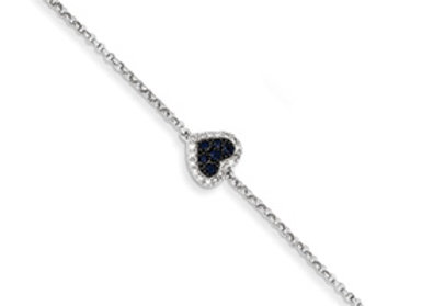 14K White Gold Diamond & Sapphire Heart W/.5in Ext