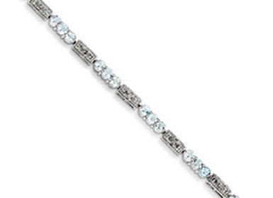 Sterling Silver Aquamarine And Diamond Bracelet