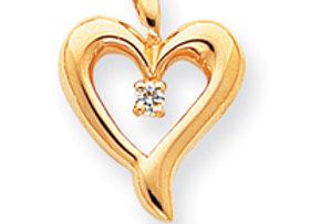 14k AAA Diamond Heart Pendant
