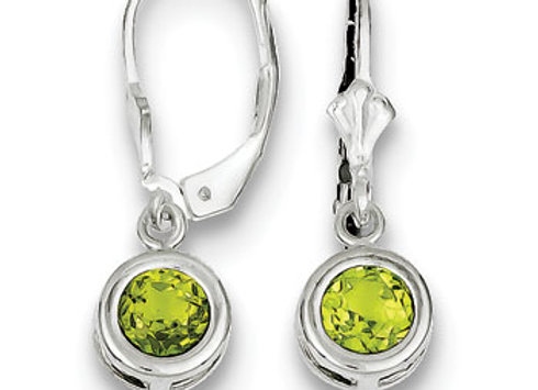 Sterling Silver 6mm Round Peridot Leverback