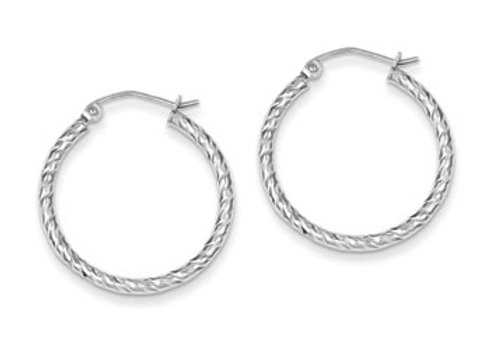 Sterling Silver Rhodium Plated D/C 2x25mm Hoop