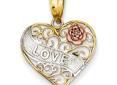 14k Yellow & Rose Gold w/ Rhodium Love Heart