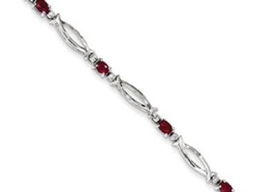 Sterling Silver African Ruby And Diamond Bracelet