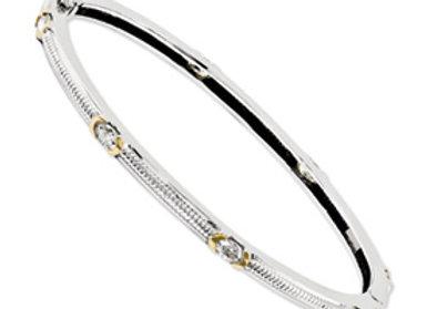 14kt Two Toned Moissanite Bracelet