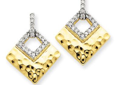 14k Yellow Gold Diamond Dangle Post Earrings