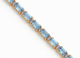 14k Blue Topaz & Diamond Bracelet