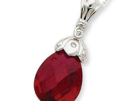 Sterling Silver Dark Red CZ Tear Drop Necklace