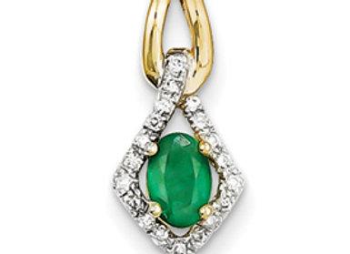 14k Diamond & Emerald Pendant