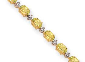14k Completed Fancy Diamond/Peridot Bracelet