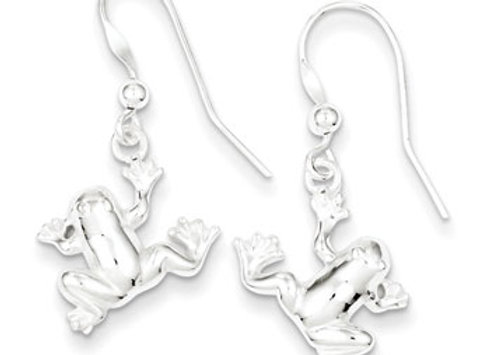Sterling Silver Polished Frog Dangle Earrings