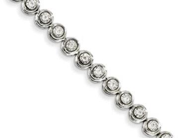 14k White Gold Diamond Circle Link Bracelet